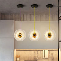 Işıklar ve Aydınlatma'ten Kolye ışıkları'de Iskandinav cam küre kolye ışıkları restoran yatak odası asılı lamba çubuğu yaratıcı kişilik ev deco aydınlatma armatürü led parlaklık
