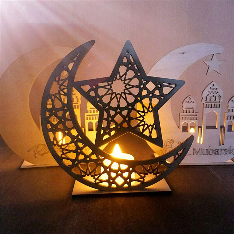 Ramadan Eid Mubarak Moon Star LED Candles Light Ornaments Wood Plaque Hanging Pendant Islam Muslim EID Party Home Islam Decor
