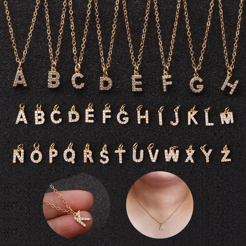 Stainless Steel CZ Mini A-Z Letter Pendant Charm Necklace Shinning Micro Pave Zircon 26 Initial Alphabet Name Necklace collares
