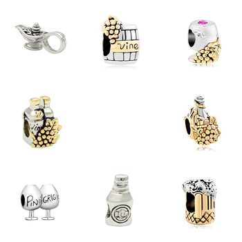 Free shipping With Vine Wine Cask Golden Beads Charms fit Pandora bracelet image