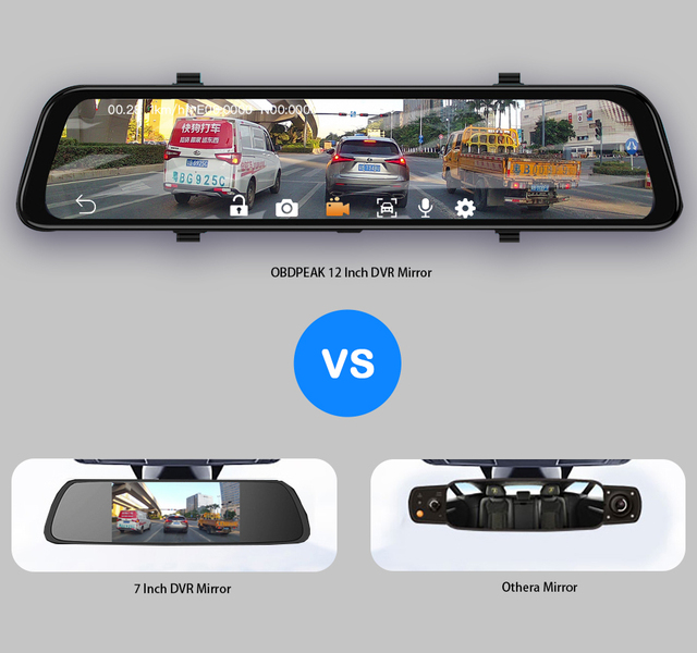 """12"""" 4G Touch Screen Car Dash Camera Recorder Rearview DVR Mirror Full HD 1080P Android 8.1 Wifi GPS Navigation Mirror Video Cam 3"""