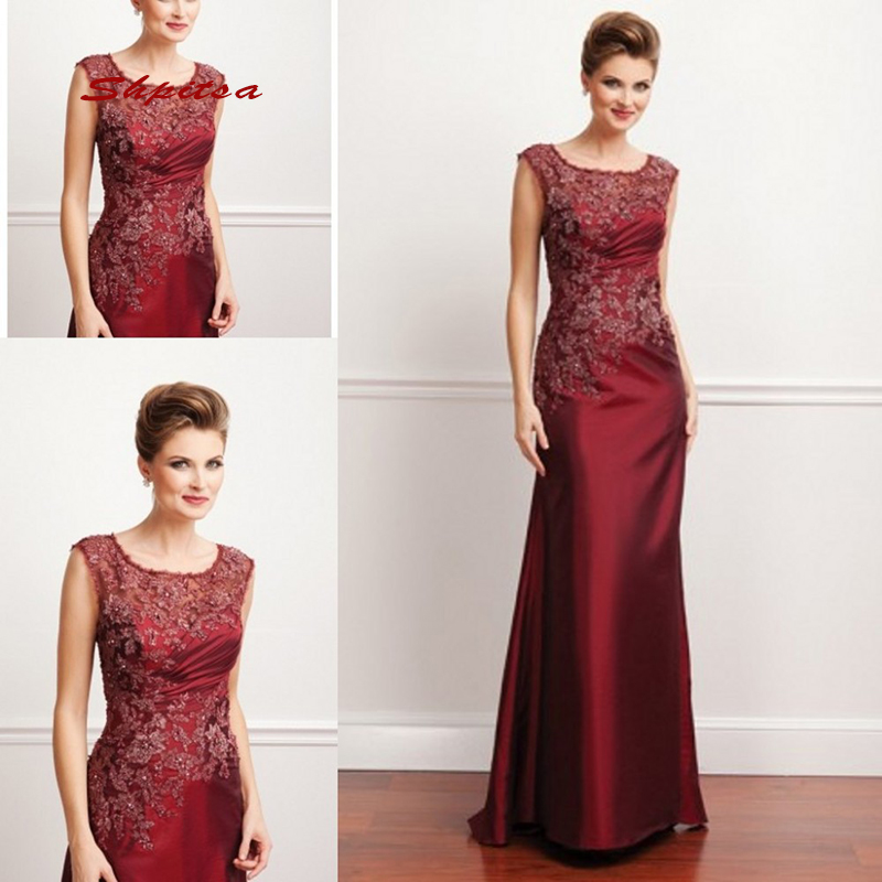Lace Mother Of The Bride Dresses For Weddings Plus Size Party Burgundy Dinner Evening Godmother Groom Dresses