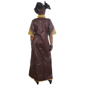 Image 4 - MD african bazin dresses for women embroidery long dress chiffon head wrap south africa lady clothes evening party dresses