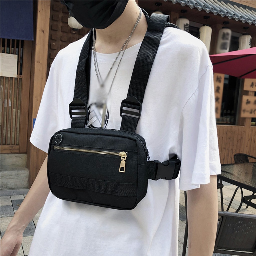 Men Hip-Hop Chest Bag Outdoor Oxford Tactical Streetwear Vest Chest Rig Bags Women Functional Military Waistcoat Chest Pack#G2