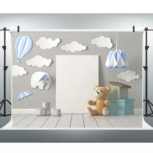 Image 3 - Laeacco יום הולדת שיחת וידאו עננים פורחים דוב מתנות אור צילום תפאורות רקע תינוק חדר תפאורה Photozone