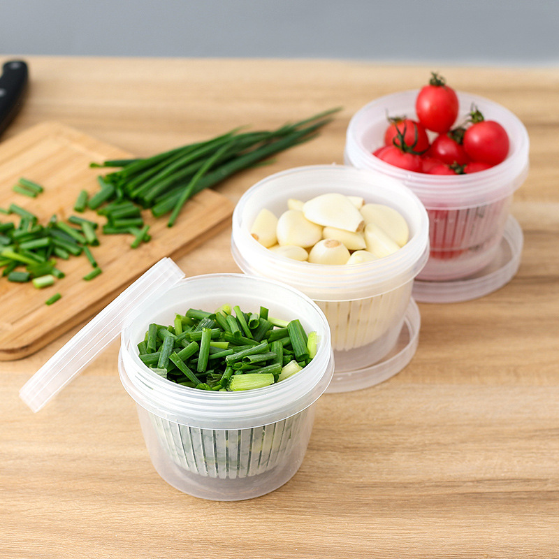 Ginger And Garlic Chopped Green Onion Freshness Storage With Lid Box Household Portable Water Draining Freshness Bowl Circle Pla