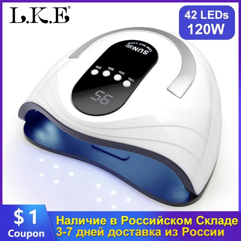 LKE Nail Dryer 120W Nail Lamp SUN X UV LED For All Gel Nail Polish With Automatic Sensor LCD Display 4 Timer Lamp Of Nail Art