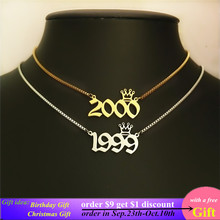 Crown Charm Birth Year Pendant Necklace 1991 to 2000 Box Chain Old English Number Necklaces Women Jewelry Birthday Gift