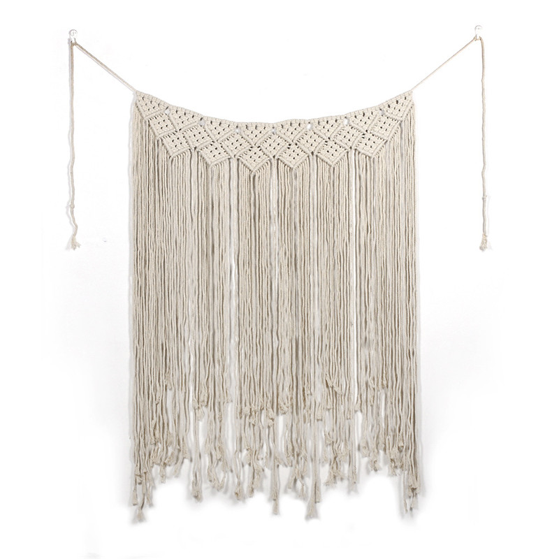 Boho Wedding Macrame Curtain Tapestry Cotton Handmade Wall Hanging Backdrop DIY Room Rustic Wedding Party Decoration #
