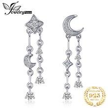 JewelryPalace Star Moon Cubic Zirconia Dangle Drop ต่างหู 925 เงินสเตอร์ลิงต่างหูเกาหลีต่างหูแฟชั่นเครื่องประดับ