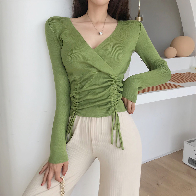 Women's V-neck Knitted Full Sleeve Solid Cropped Sweater Shirts Girls Sweaters Pullovers Jumpers Crop Tops For Female