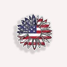 Забавный американский флаг США Подсолнух цветок наклейка на