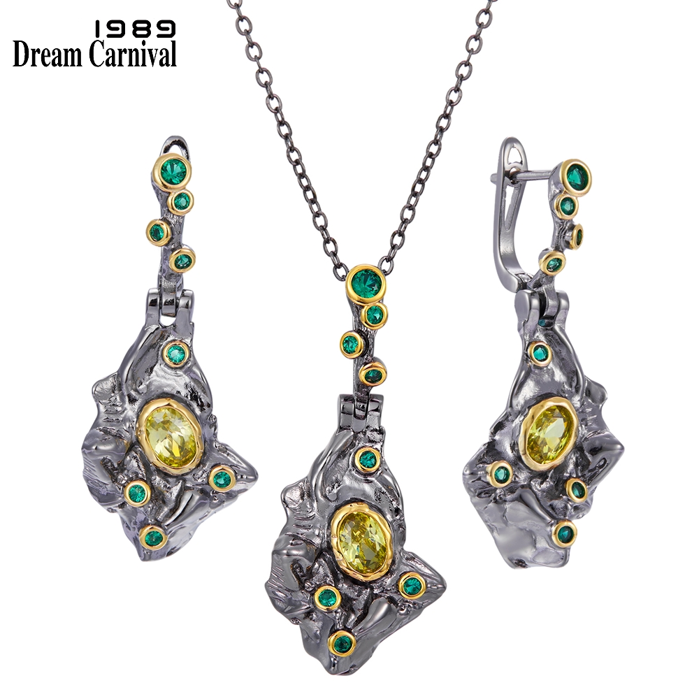 DreamCarnival1989 Fall Winter New Stone Age Collection Earings-Necklace Set for Women Ancient Look Olivine Green Zircon EP3987S2(China)