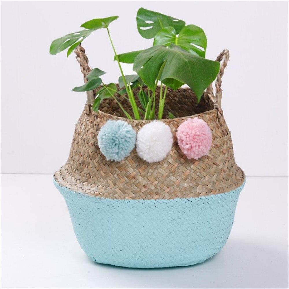 Складной горшок для хранения из натуральных водорослей, плетеная подвесная корзина для садовых ВАЗ, цветов, домашний декор
