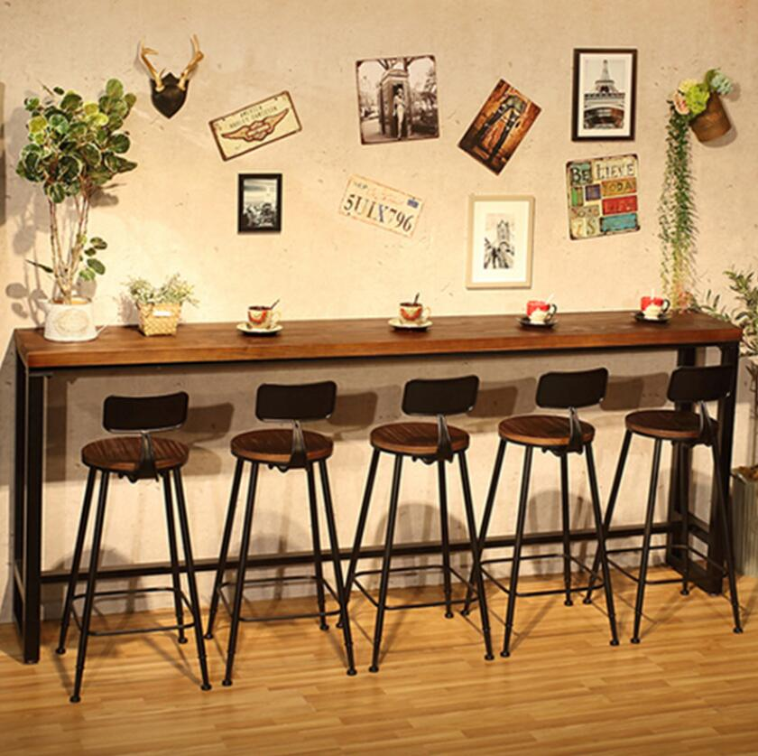 Cheap Modern Wood Metal High Bar Table Simple Home Coffee Bar Table Against The Wall Strip Side High Bar Tables