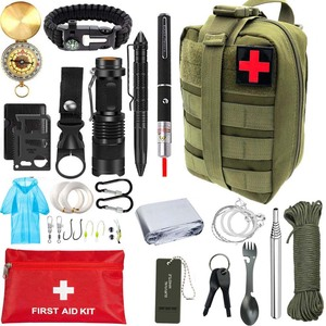 Outdoor Survival Kit Portable First aid Tourism Equipment Camping Tools Emergency Hiking Kit Whistle Rescue Tactical Pen