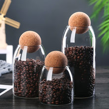 Glass Storage bottle Jars Containers Borosilicate Transparent Lead-Free Sealed Can coffee Tank Grains Creative Round Cork Tea
