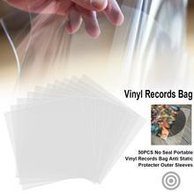 50 pièces clair épaissi vinyle disques sac sans rides rond extérieur manches Portable conteneur sans joint couverture Anti statique protecteur