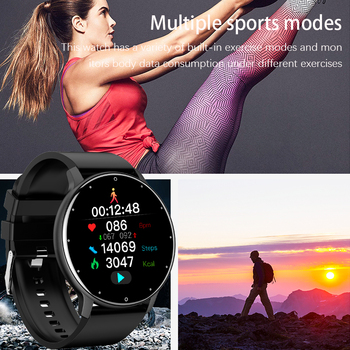 LIGE New 2021 Full touch Female Digital watch waterproof Sports suitable for Android IOS multifunction Electronic watch male+Box 5
