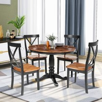 ORIS FUR. 5 Pieces Dining Table and Chairs Set for 4 Persons, Kitchen Room Solid Wood Table with 4 Chairs