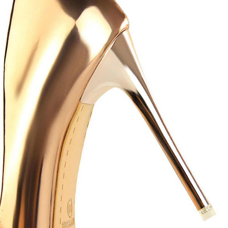 10.5 cm topuklu altın yüksek topuklu ofis klasik pompalar kadın rugan ince topuklu kadın pompaları bayanlar ayakkabı seksi sığ ağız
