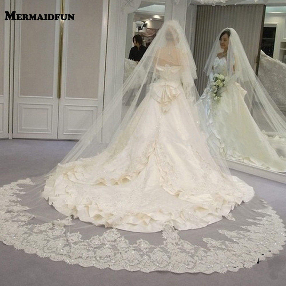 Velos De Novia Long Lace Wedding Veil 2 Layers Bridal Veil With Comb 300cm Cathedral Veil 2T Welon Slubny