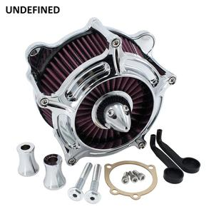 Image 3 - Chrome Air Filter Motorcycle Turbine Intake Air Cleaner For Harley Touring Road King Street Glide Dyna FXR Softail Twin Cam EVO