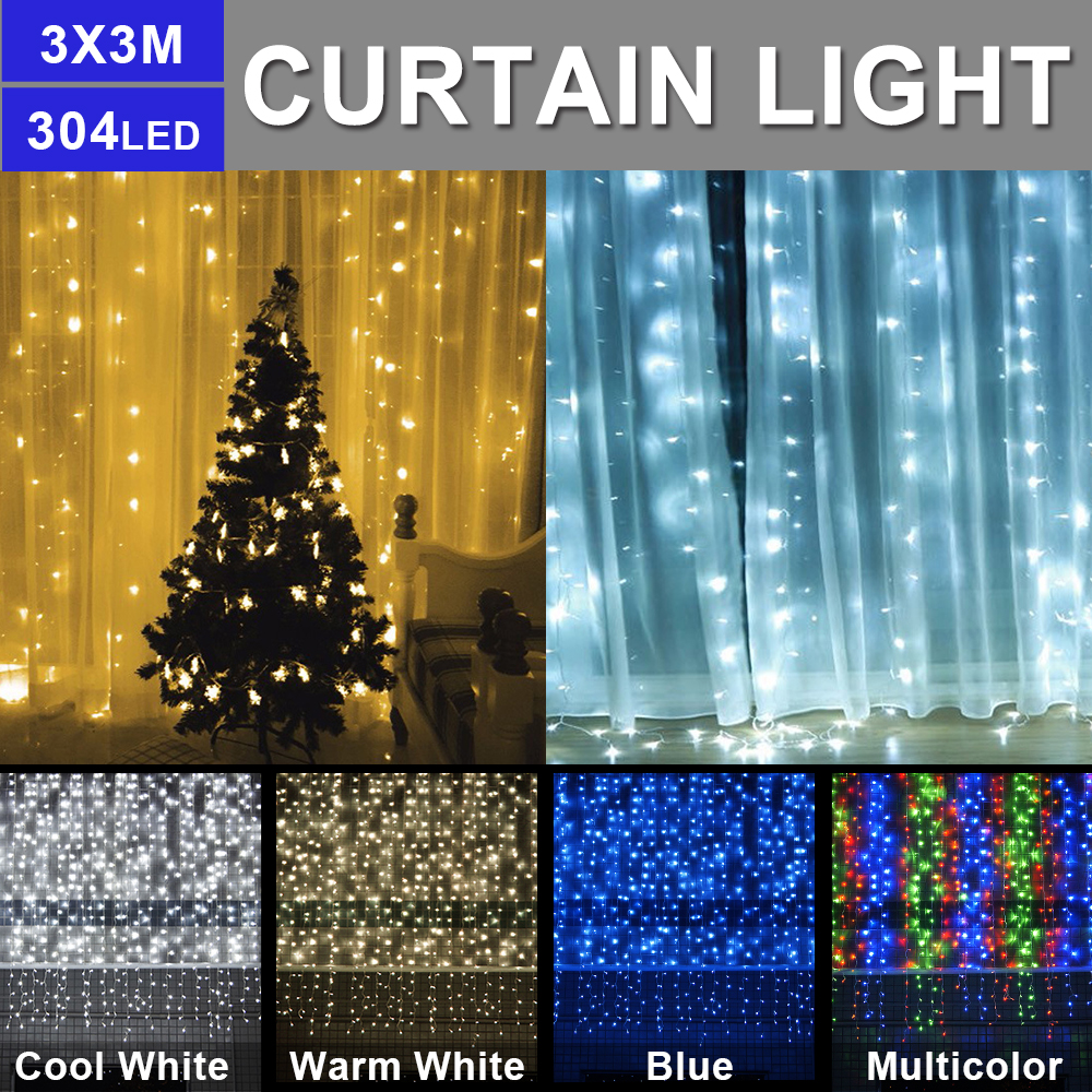 3M X 3M Christmas Curtain LED String Curtain Lights Indoor Outdoor Decoration LED Garden Stage Fairy Light US EU AU UK Plug D20