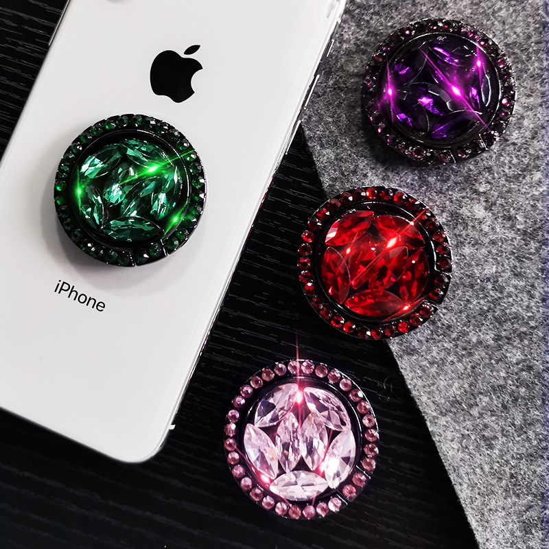 Universal Luxury Bling Diamond Socket Phone Holder For Smart Phone Metal Mount Mobile Phone Holder Stand For Xiaomi For HuaWei