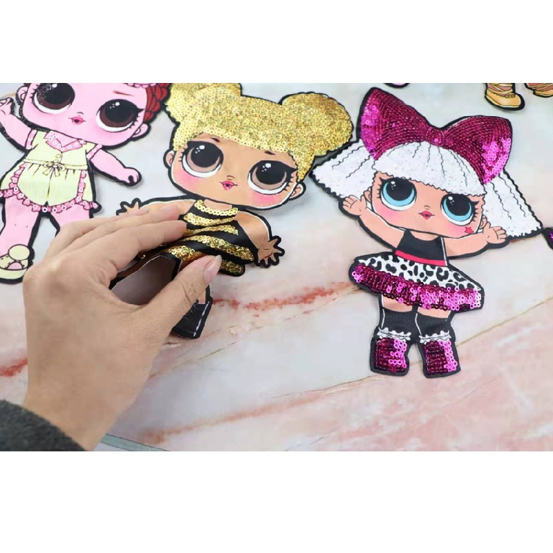 Cartoon Patches Women Fashion LOL Doll Girls Lovely Fashion Boy Doll Embroidery Patch DIY Garment Decoration Sequins
