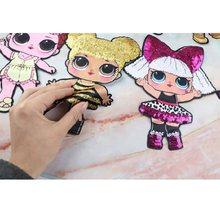 Remendos dos desenhos animados moda feminina lol boneca meninas adorável moda menino boneca bordado remendo diy vestuário decoração lantejoulas