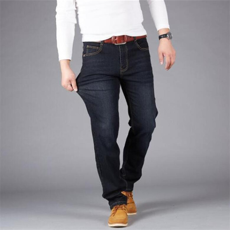 Men's Classic Straight Black Blue Jeans Fashion Business Casual Elastic Loose Trousers Male Brand Pants Plus Size 44 46 48 50