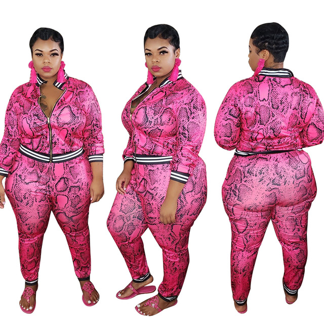 PLUS SIZE, Pink Outfits for Women Plus Size 3XL 4XL 5XL Oversize Leopard Two Piece top and pants Set Women 2020 Autumn Winter fall Clothing 2