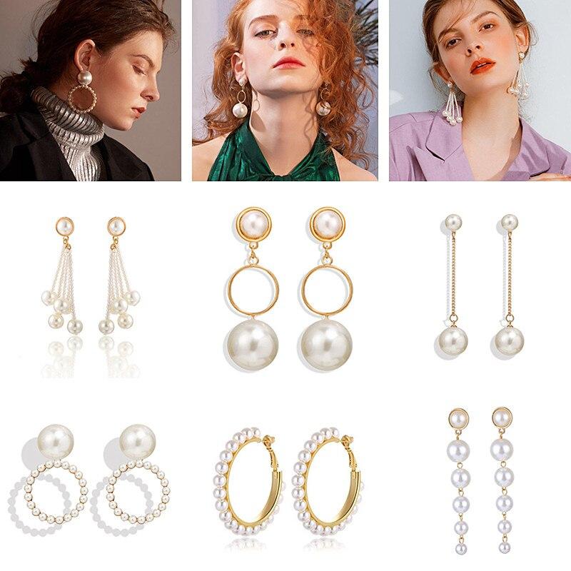 Mamfous Korean Style Yellow Round Double Girl Geometric Dangle Earrings for Women Drop Statement Earrings