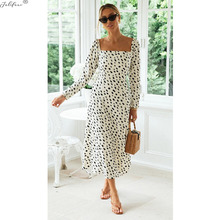 Midi Dresses Square Collar Slit Long Sleve Women Print Vintage Casual Dot Empire Autumn