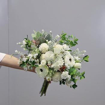 White Series Mixed Imitation Flower Bouquet Wedding Decorative Artificial Flowers Bride Bridesmaid Holding Flowers