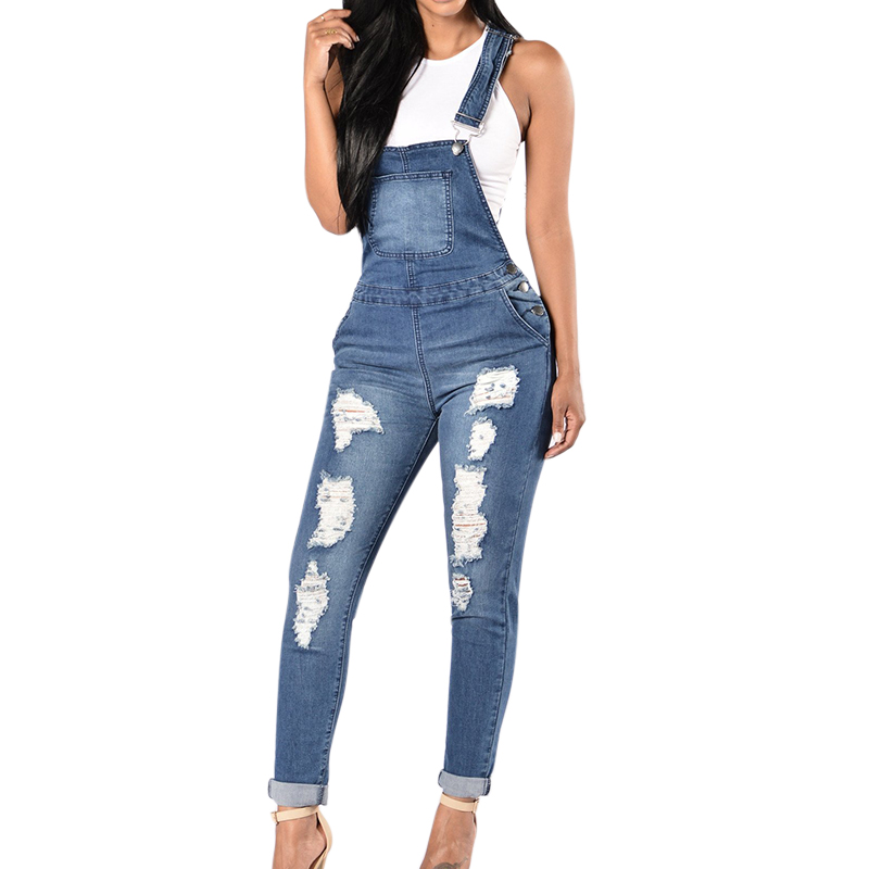 2019 Spring Women Denim Overalls Jumpsuits Ripped Holes Casual Pockets Sleeveless Jumpsuits Hollow Out Slim Rompers 2XL