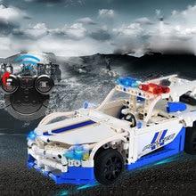 430pcs GT Technic Series Police RC Car Building Blocks Radio Control Patrol Wagon Remote Function Toys For Children