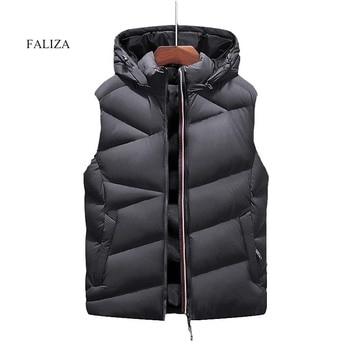 FALIZA-chaqueta sin mangas chaleco cálido informal Para Hombre, chaleco grueso Para Hombre,...