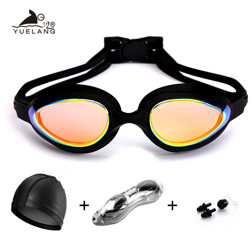 Swimming Goggles With Cap Nose Clip Set Anti-fog UV Protection Waterproof Silicone Swimming Glasses Adult/boy/girl Eyewear Box