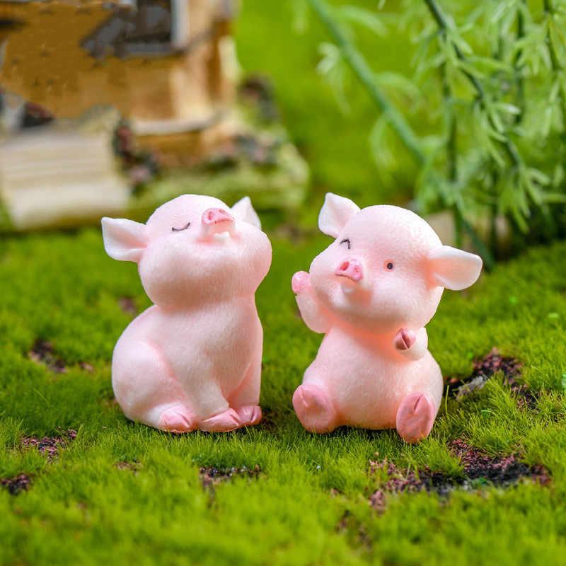 1/2/5 pçs bonito rosa porco porco china modelo coreano estátua estatueta artesanato figura ornamento miniaturas menina casa decoração do quarto