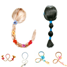 Girls RapunzelAnna Jasmine Aurora Wig Kids Elsa Anna Belle Braid Mermaid Moana Hair Children Halloween Gift