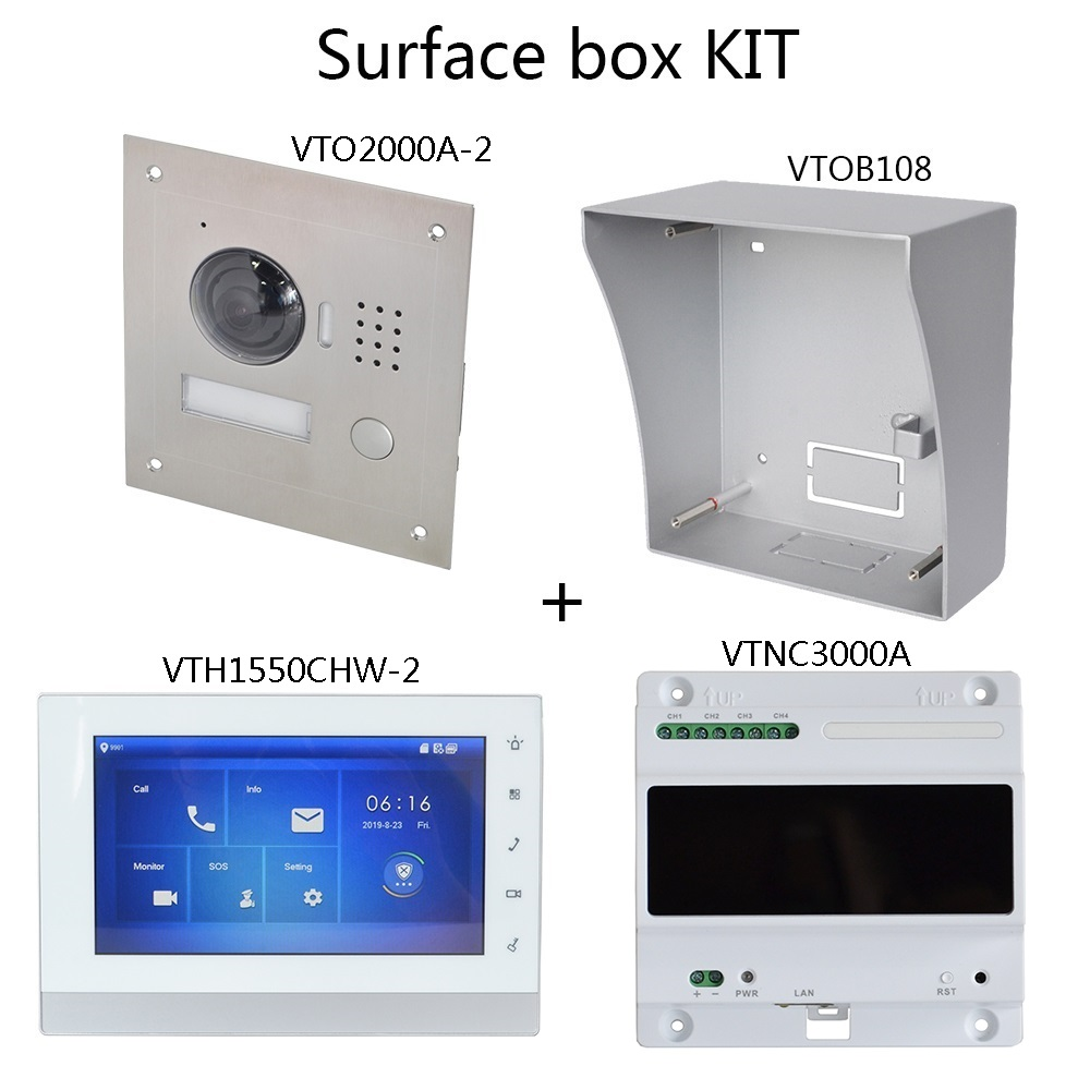 DH Logo Multi-Language 2-Wire IP Video Intercom KIT Include Doorbell & Monitor & Power Supply,VTO2000A-2-S1 VTH1550CHW-2-S1