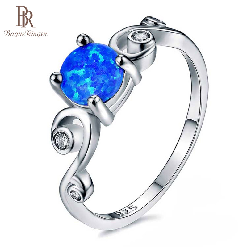 Bague Ringen Classic Silver 925 Jewelry Ring With Blue Round Opal Gemstones Purple White Color Charm Engament Siver Jewelry Gift