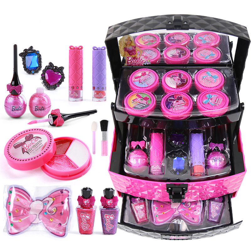 Bobby Children Cosmetics Princess Makeup Box Set Girl Lipstick Eyeshadow Fingertips Suitcase Toys For Children Gift Pretend Play