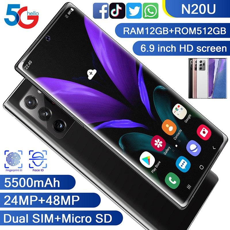 Galxy-teléfono inteligente N20U, Pantalla Completa de 8 núcleos, 256 GB, Android 10, Snapdragon 865 +, cámara Dual de identificación facial, teléfono inteligente 4G
