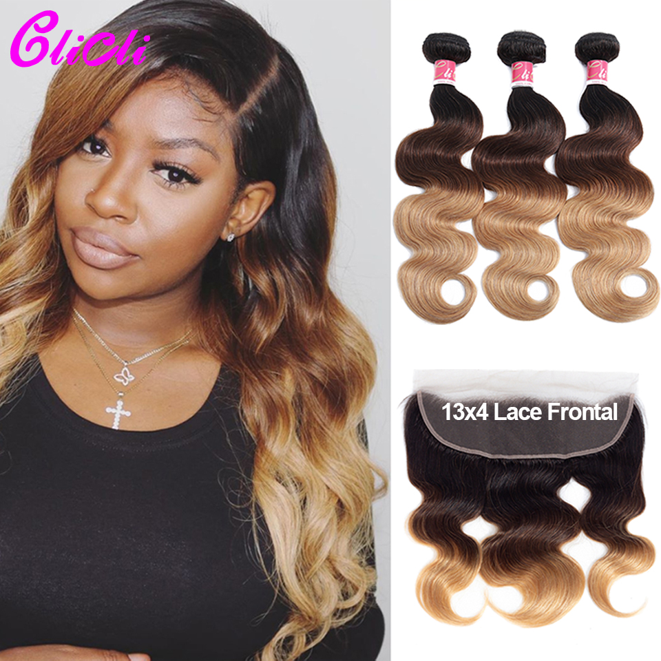 Brazilian Hair Bundles With Frontal Body Wave 1B 4 27 Ombre Remy Human Hair Bundles With 13x4 Ear To Ear Lace Closure Preplucked