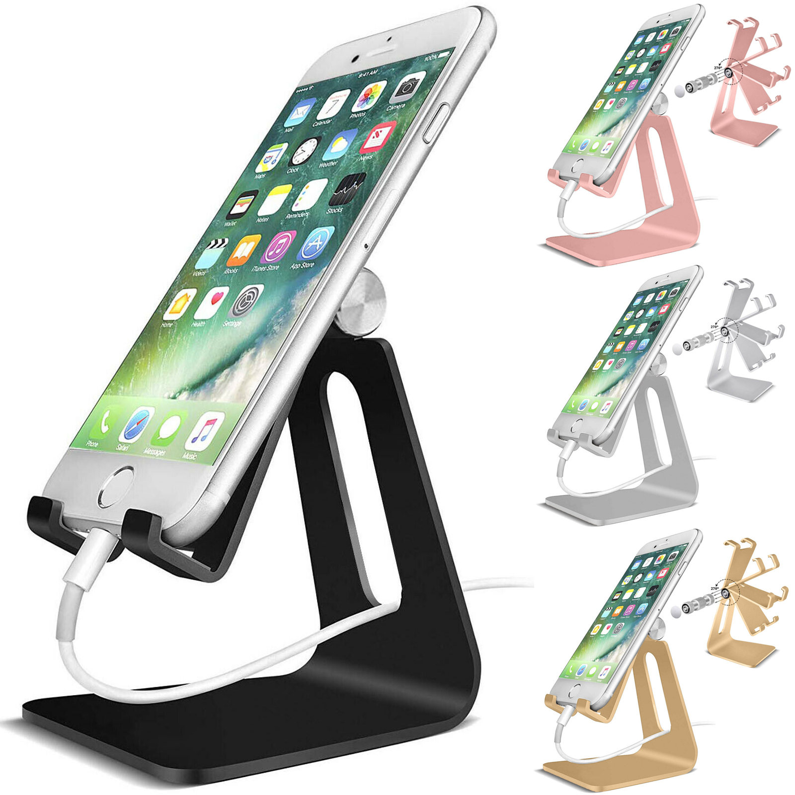 Products Adjustable Cell Phone Tablet Switch Stand Aluminum Desk Table Holder Cradle Dock Mount Compatible with iPhone Galaxy Edge All Smart Phone Rose Gold + Silver + Black + Gold