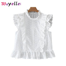 White Women Blouses and Tops Sweet Ruffled Embroidery Hollow Out Crop Tops Summer Transparent Design Casual Chic Shirts Female цена