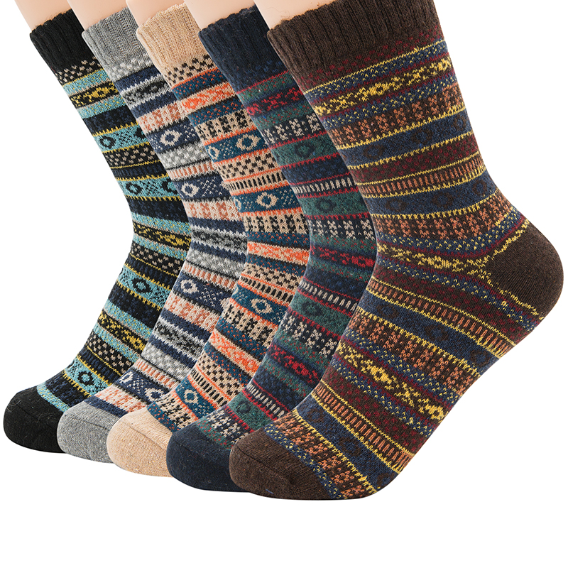 Men's Thick Wool Socks Special Winter Thick Warm Socks High Quality Crew Sock Harajuku Retro Warm Wool Dress Socks (5 Pairs)